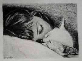 Girl and Cat, under a blanket (better capture) by Selenapdx