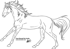 Free horse lineart, gallop by Ieste