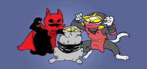 Red Cape, Smokey, and Stealth Claw by PlummyPress