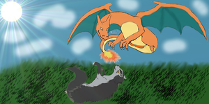 Mightyena and Charizard Playing~PunkPredator'sGift by LevairAmeliaRivaille