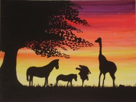 Sunset with Animals by oxido-girl