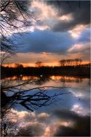 Sunset sky phenomenon at the pond by AStoKo