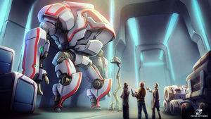mecha hangar by estivador