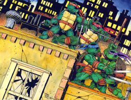 TMNT #1 cover Recreation Watercolor - Laird - Egli by SurfTiki
