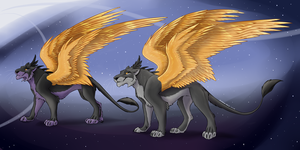 Lions with golden wings by Kotya-ra