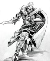 The Drow priest lunchtime sketch by KingCorvid