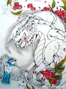 [Indian Ink art] Dragon and Spring by BlackDragon07