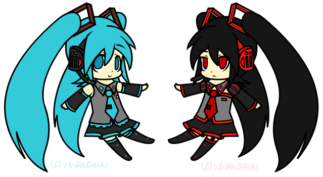 The Miku Twins by vivianchhay