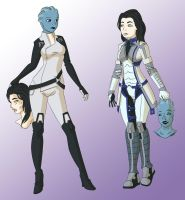 Miranda and Liara changing places by Vytz