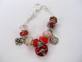 Red heart box European bracelet 1 by Pameloo