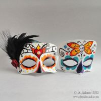 Leather Calavera Masks - Dia de los Muertos by Beadmask
