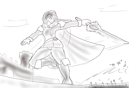 Giant Lucina defending a castle by Feyzer