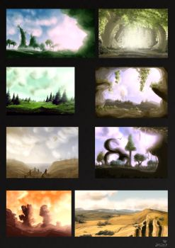 Landscape speedpaints by Inchenbienchen