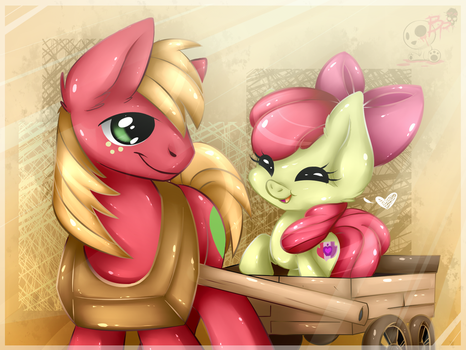 MLP Fanart: Big mac and Apple bloom, sibling love~ by BloodyPink-M