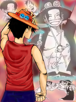 Luffy - Ace - Memories by InitiallyBones