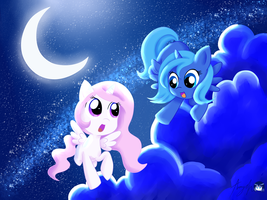 Celestia and Luna Flying at Night by Amy-Oh