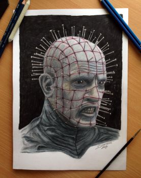 Pinhead /Hellraiser Color Pencil Drawing by AtomiccircuS