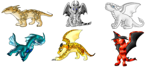 Dragon hatchlings Batch 2 by WerewolfDragonGirl
