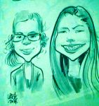 A caricature done of me and my niece by missmybcmiyuki