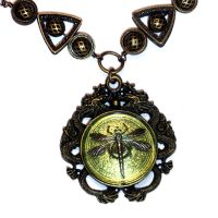 Dragons and Green Dragonfly Necklace by CatherinetteRings