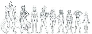 OC Height/Physique Chart - Sketch by Croxot