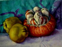Quince and strange gourd..oil paint by xxaihxx