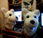 Snow leopard/wolf fursuit head by Pure-Escapism