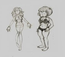 Two Sketches of Girls =will scrap later= by heyitsmyles