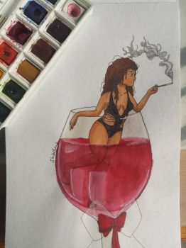 Red wine girl by xShadowArt