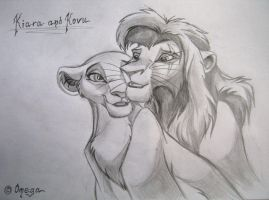 Kiara and Kovu by OmegaLioness