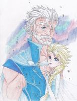 Elsa and her father, The Ice King by Charming-Manatee