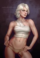 Ciri with the rose tattoo by ynorka