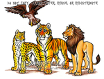Big Cats And Hawk Commission by WildSpiritWolf