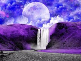 Moon and Waterfall by DjhannaS