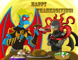 Dragon Boy and Twilight J's Thanksgiving meal by Ani-Jesse