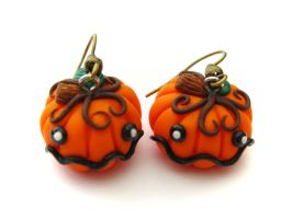 Halloween Pumpkin Earrings by PumpkinDream