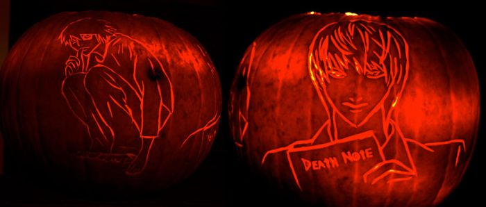Death Note Pumpkins by comicalclare