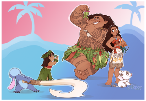 Lilo and Stitch meet Moana and Maui by Skirtzzz