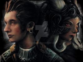 Final Fantasy Balthier and Fran Painting Portrait by studiomuku