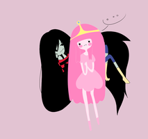 Queen Marceline -- Princess Bubblegum by Aearia