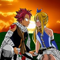 Lucy and Natsu in the sunset by Samuspartan