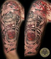 Blood clock script skulls lily by 2Face-Tattoo