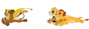 Kion with his best friends and nephew and niece by RivertailofRiverclan