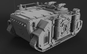 Wh40K Deimos Pattern Rhino (Mk1C) Clay Render 2 by SerpentTheGreen