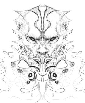 Alien dude Line work in sketch book pro 2011 by grafuck