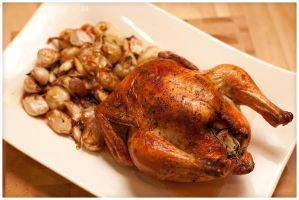 Roasted Chicken with Garlic and Cipollini Onions by duros