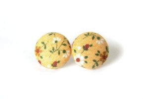 Yellow stud earrings - round button earrings by KooKooCraft