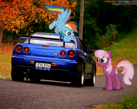 Cheerilee and Rainbow Dash with R34 Skyline GT-R by nestordc