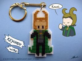Loki cross stitch keychain by caycowa