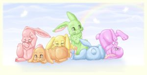 Rainbow Bunnies by Yoccuri